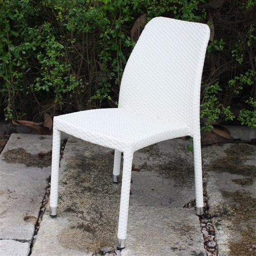 White Wicker Dining Chairs: All-Weather White Wicker Resin Outdoor Stacking Patio
