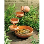 Terracotta 5-Tier Bowls Outdoor Solar Fountain Bird Bath