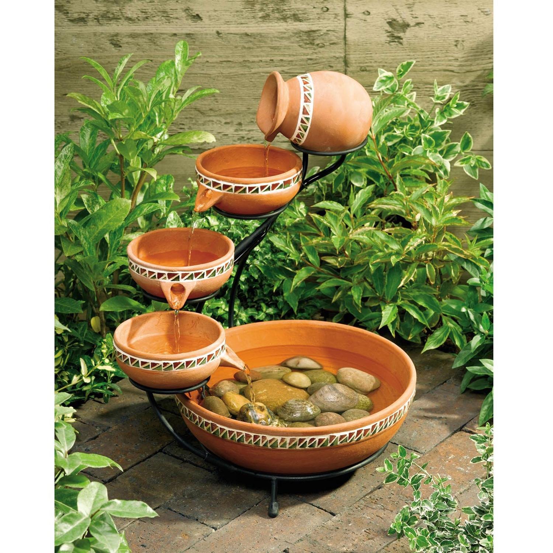 Terracotta 5 Tier Bowls Outdoor Solar Fountain Bird Bath
