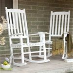 Set of 2 - Indoor/Outdoor Patio Porch White Slat Rocking Chairs