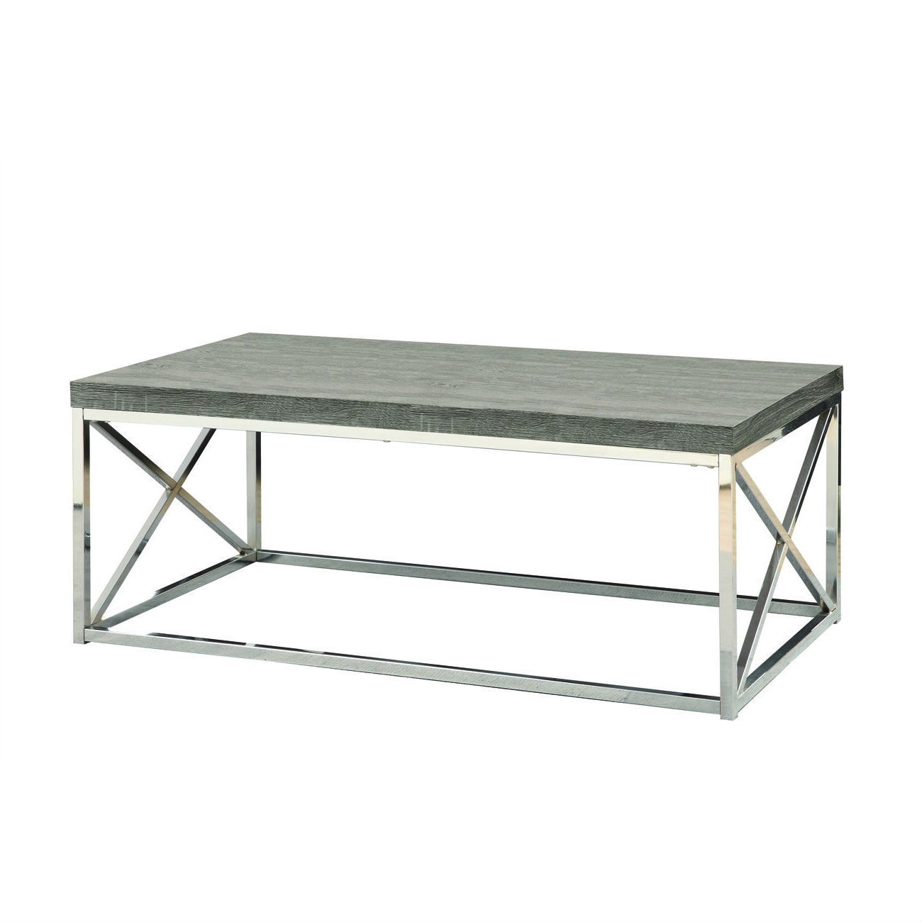 Modern Coffee Table With Chrome Metal Frame And Dark Tape Wood Top |  FastFurnishings.com