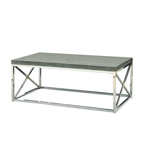 Chrome Coffee Table With Wood Top: Modern Coffee Table With Chrome Metal Frame And Dark Tape
