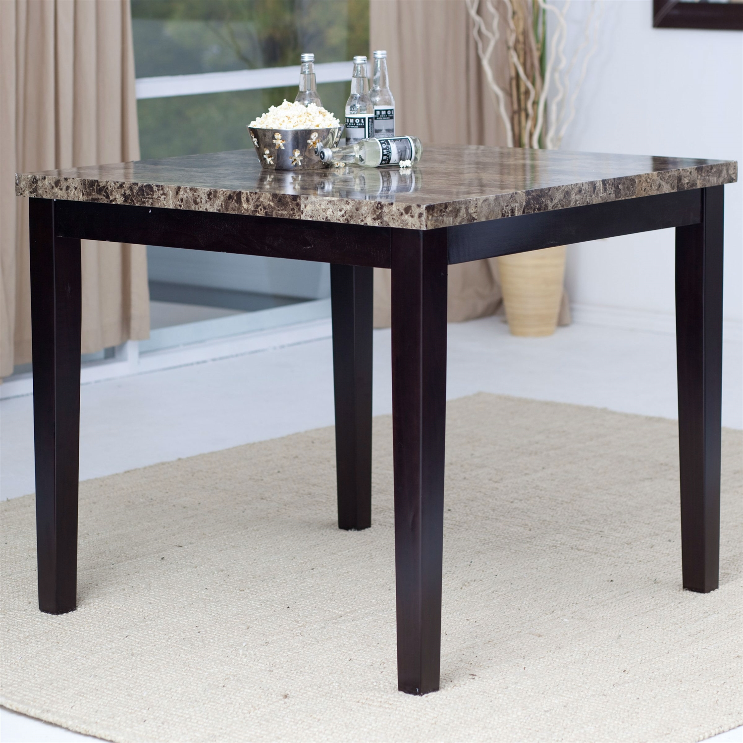 Faux Marble Table From Big Lots: Contemporary 42 X 42 Inch Counter Height Dining Table With