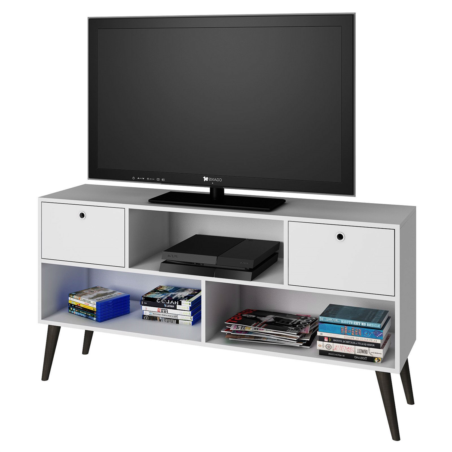 mid century modern entertainment center tv stand in white grey wood finish - Entertainment Centers Tv Stands
