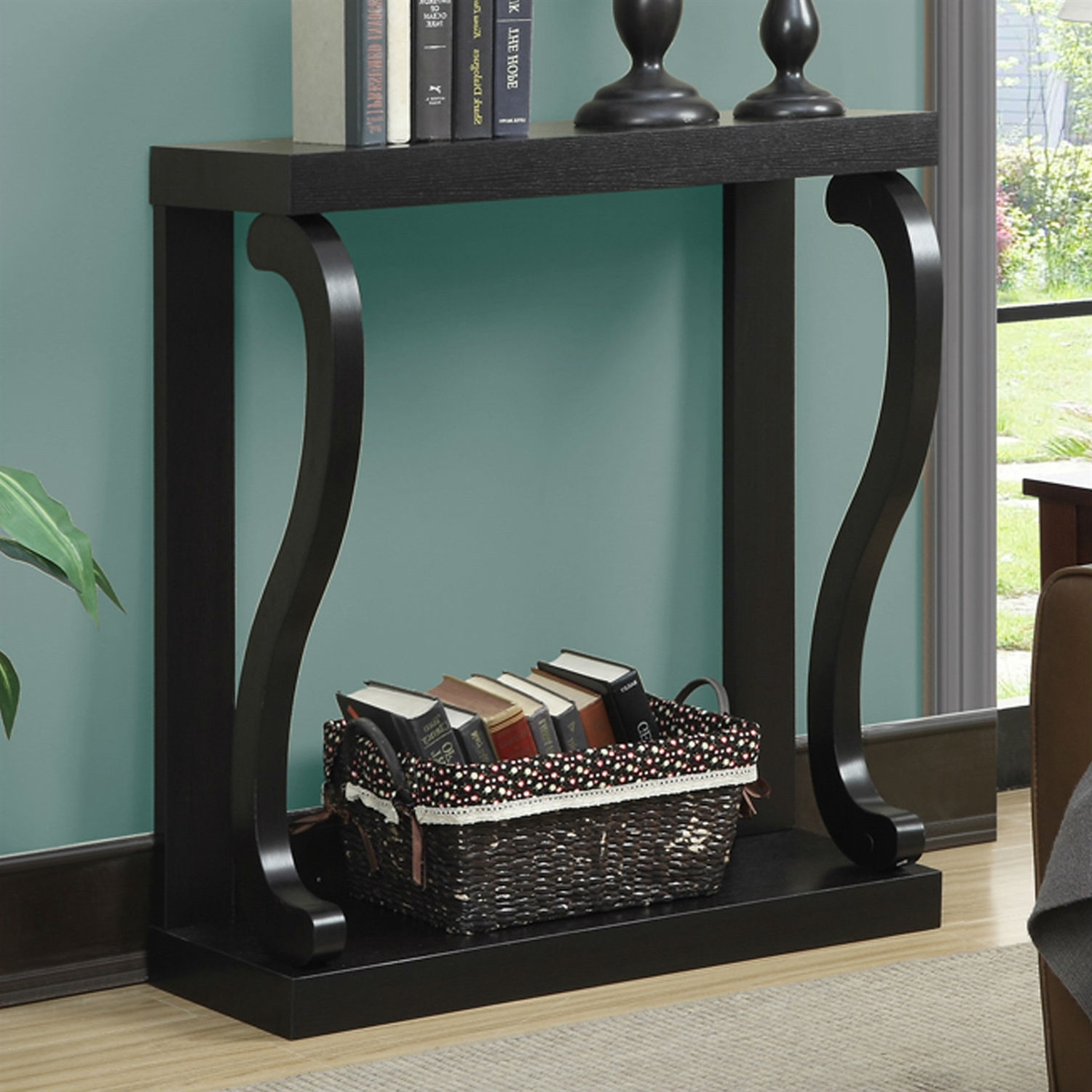 Modern curved legs rich espresso console table fastfurnishings com