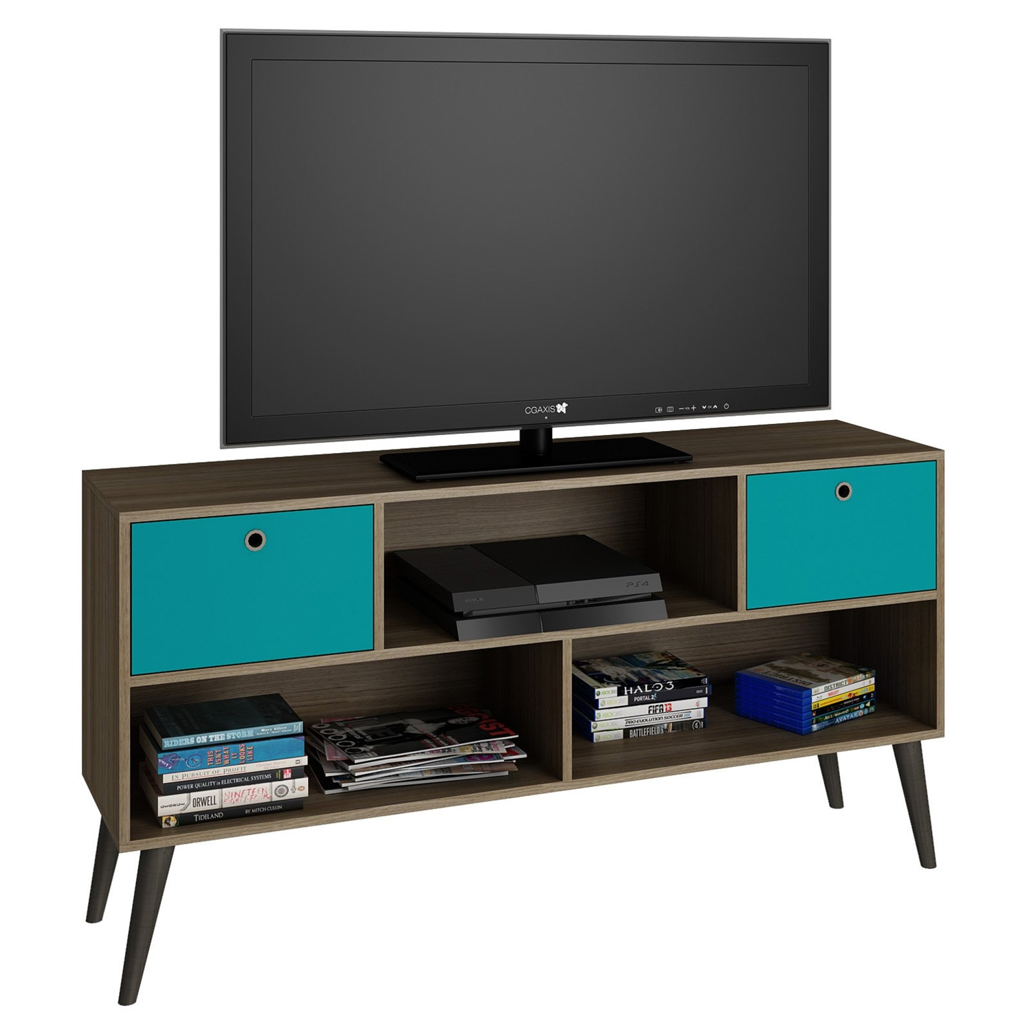 modern classic mid century tv stand entertainment center in oak aqua grey wood finish - Tv Stands Entertainment Centers
