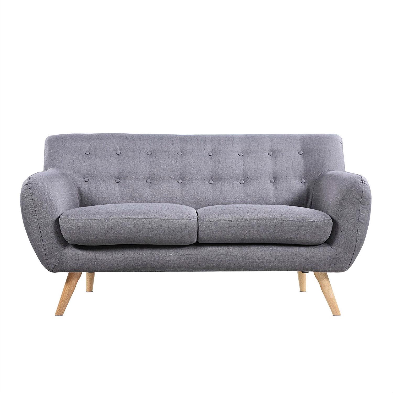 Modern Light Grey Linen Fabric Mid Century Tufted Sofa Loveseat
