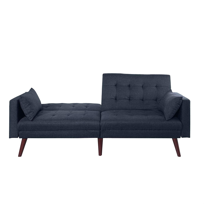 Modern Mid-Century Sleeper Sofa Bed in Dark Blue Black Linen ...