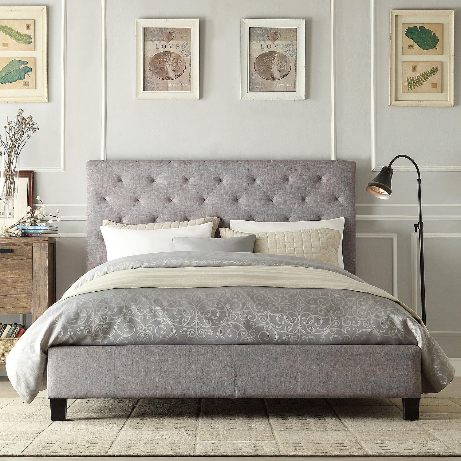 Queen Size Button Tufted Grey Upholstered Platform Bed Fastfurnishings Com