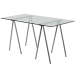 Modern Clear Tempered Glass Top Writing Table Computer Desk with Metal Legs