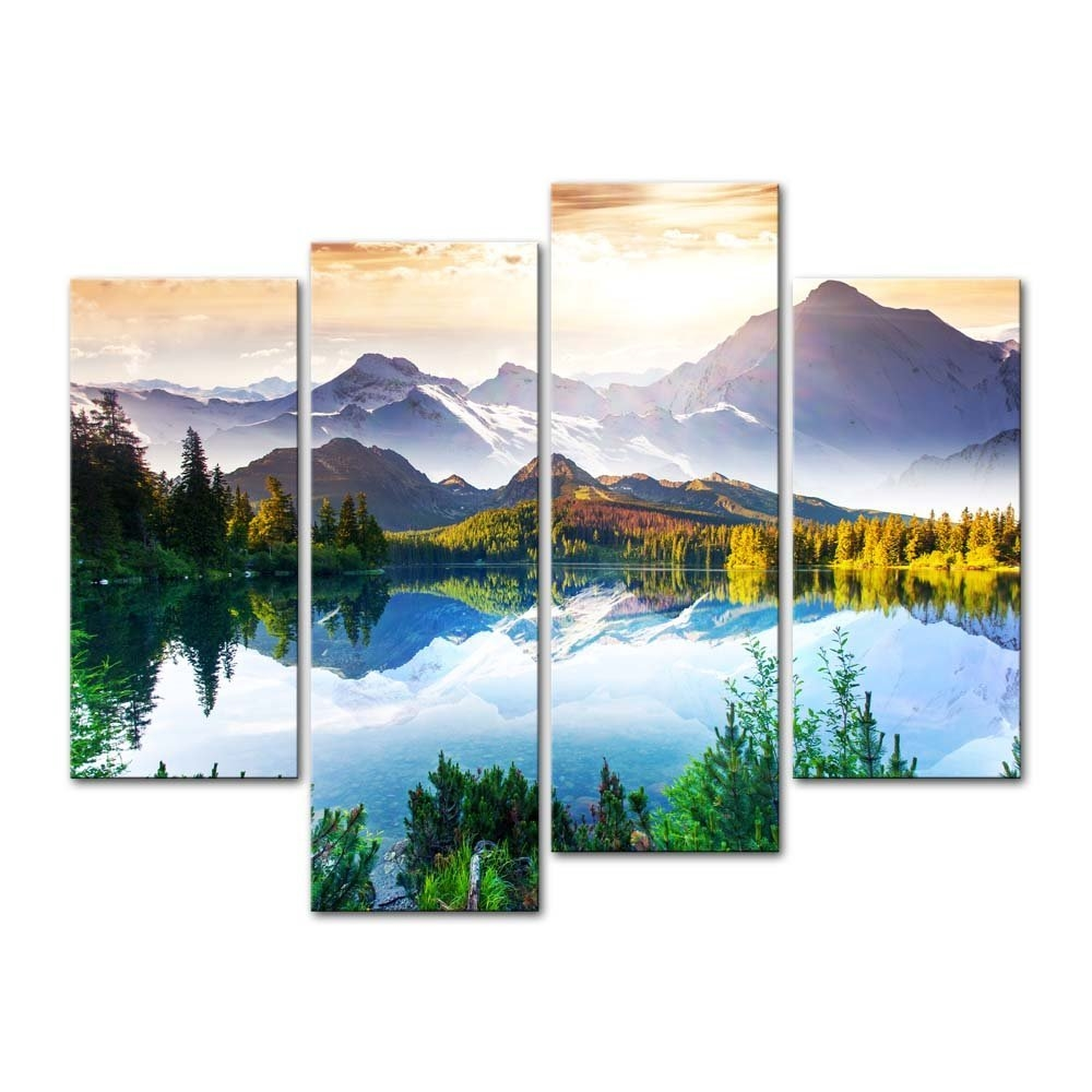 Mountain Forest Lake 4 Panel Wall Art Canvas Print Picture