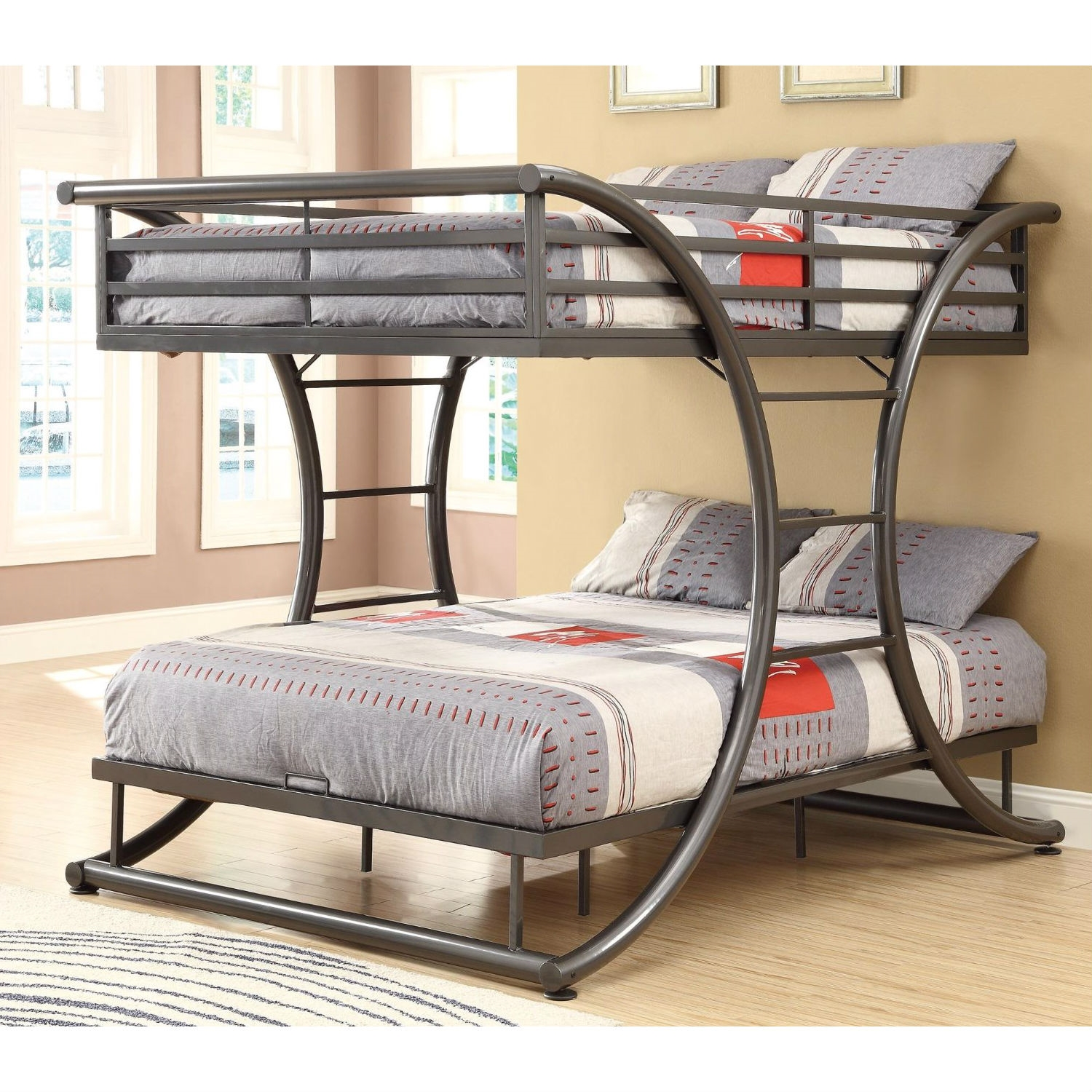 Charmant Full Over Full Size Modern Metal Bunk Bed Frame In Gunmetal Finish