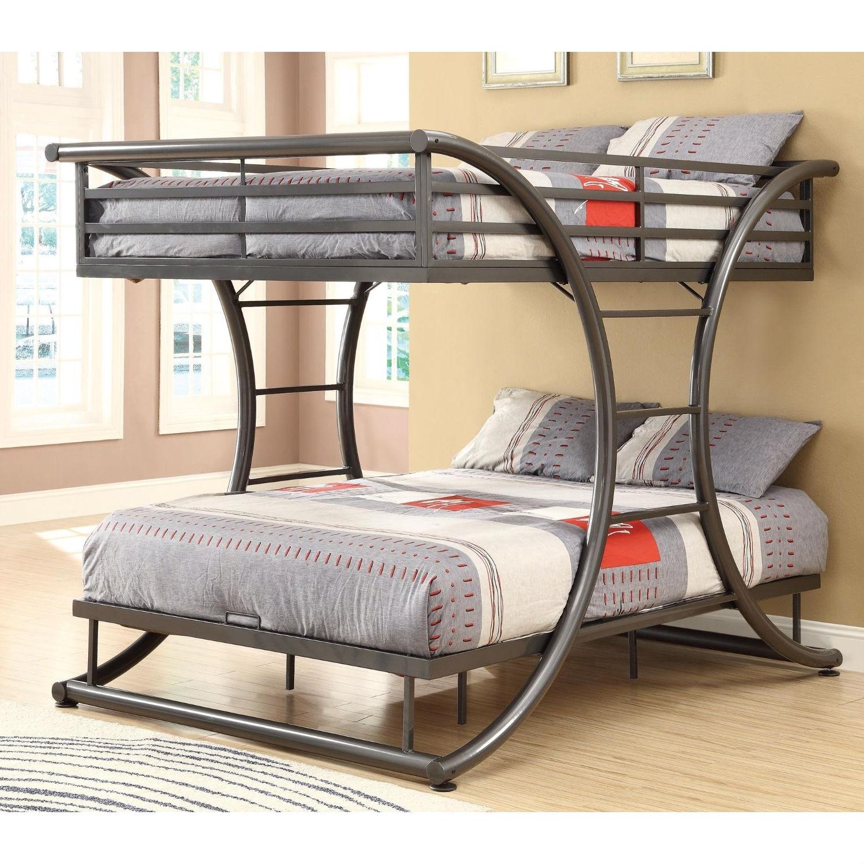 Full Over Full Size Modern Metal Bunk Bed Frame In Gunmetal Finish Fastfurnishings Com