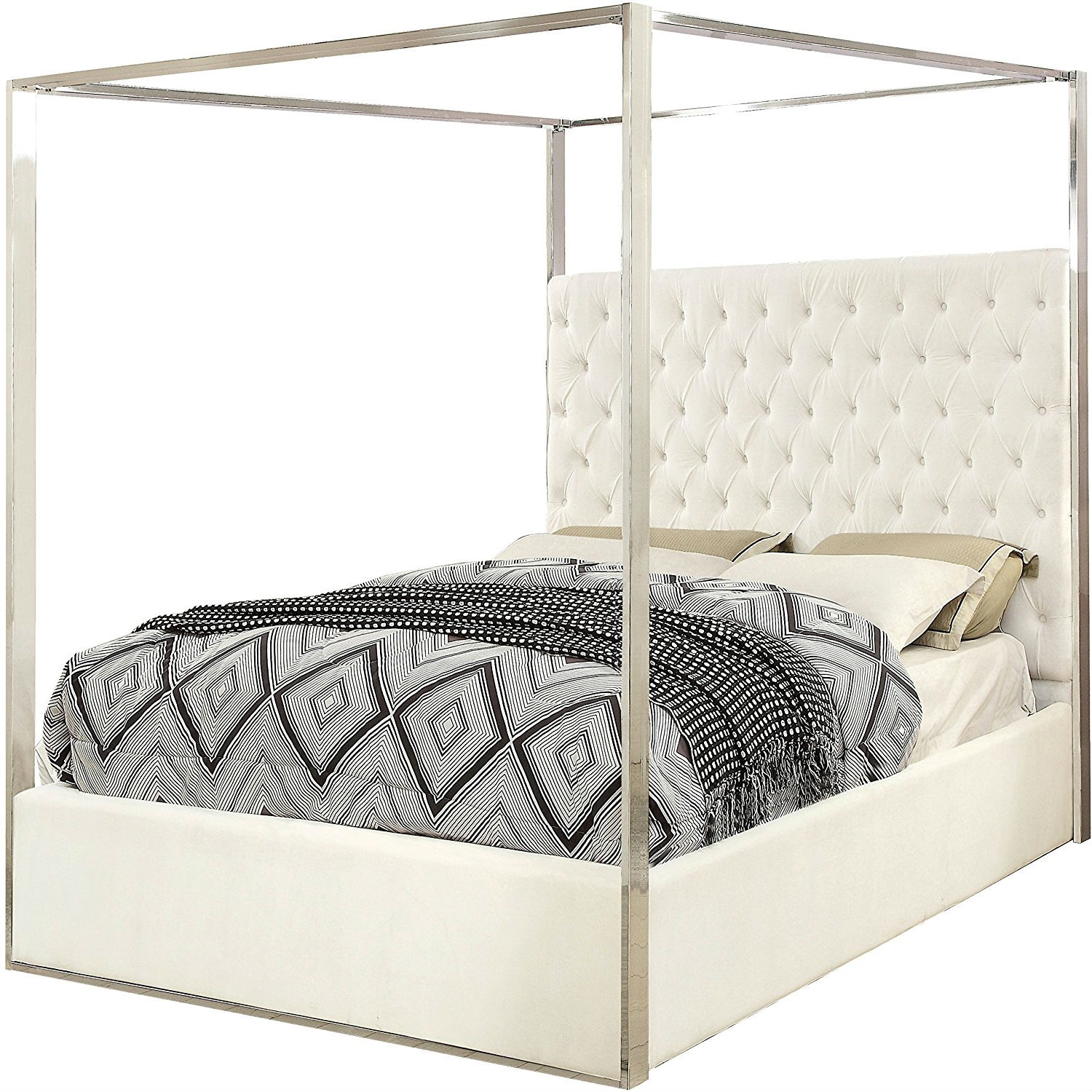 King Size White Velvet Upholstered Tufted Canopy Bed Frame With Chrome Canopy Fastfurnishings Com