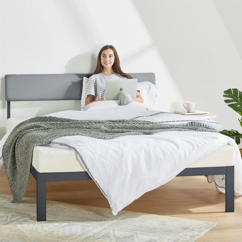 Full Size Grey Soft Fabric Metal Headboard Modern Platform Bed Wooden Slats Fastfurnishings Com