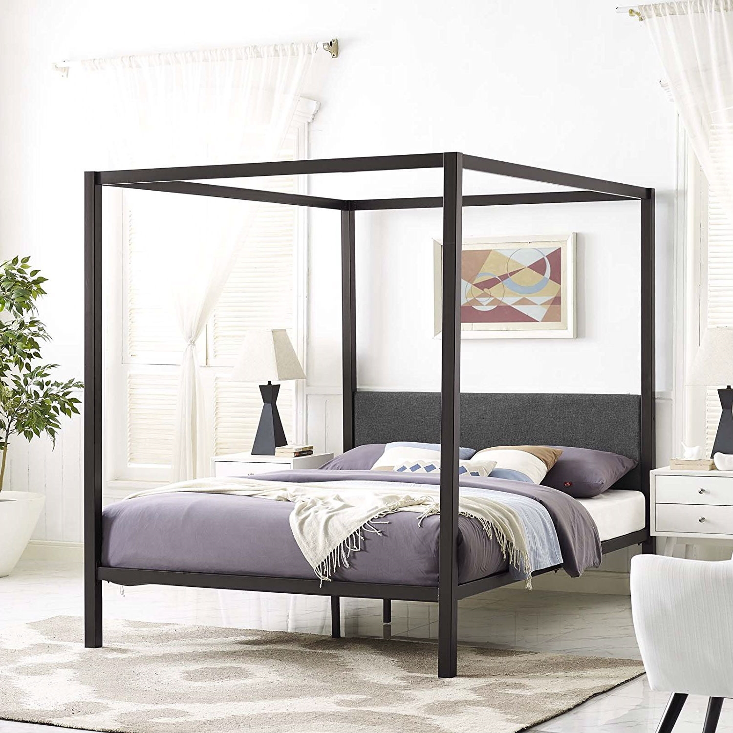 9b175d59f89e Queen size Brown Metal Canopy Bed Frame with Grey Upholstered ...