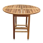 Kiln Dried Hardwood 39-inch Folding Patio Dining Table with Wheels