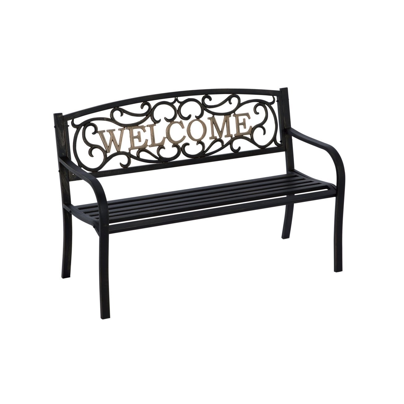 Admirable Cast Iron Welcome Park Bench Outdoor Patio Garden In Black Bronze Bralicious Painted Fabric Chair Ideas Braliciousco