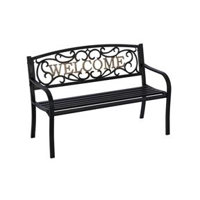 Cast Iron Welcome Park Bench Outdoor Patio Garden in Black Bronze