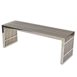 Modern Mid-Century Stainless Steel Accent Bench