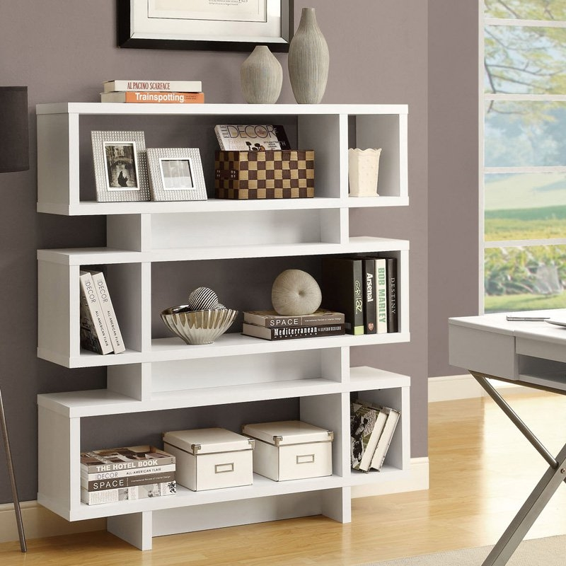 White Modern Bookcase Bookshelf for Living Room Office or Bedroom