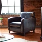 深棕色真皮软包俱乐部椅子,带木结构和腿脚