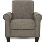 苔藓棕色亚麻织物软垫扶手椅,带木腿