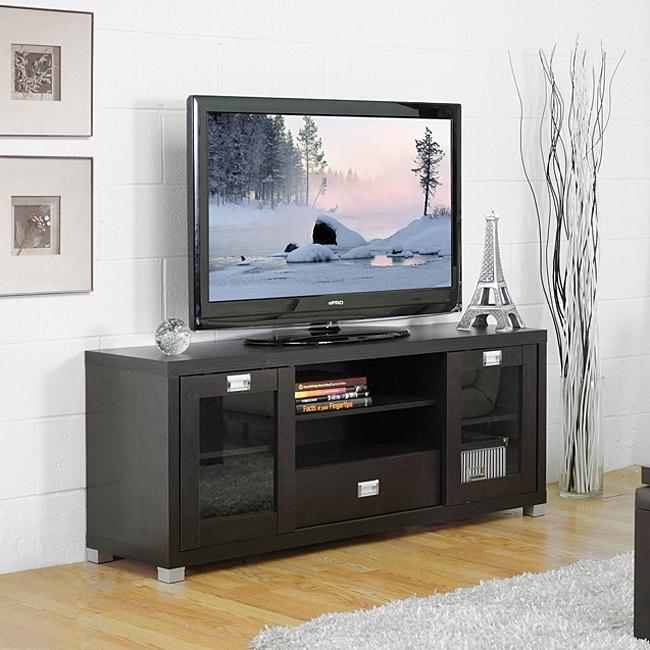 Modern Glass Door TV Stand in Dark Brown