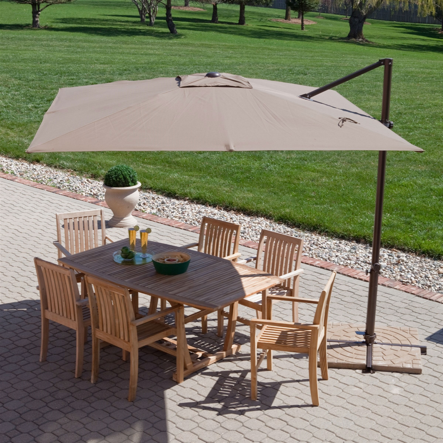 Modern 8 5 Ft fset Cantilever Square Patio Umbrella with Mocha