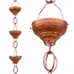 Pure Copper 8.5-Ft Rain Chain with 13 Hammered Funnel Shape Cups