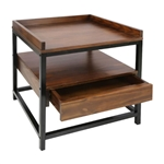 Modern Solid Wood 1-Drawer End Table Nightstand in Mocha Brown and Black Finish
