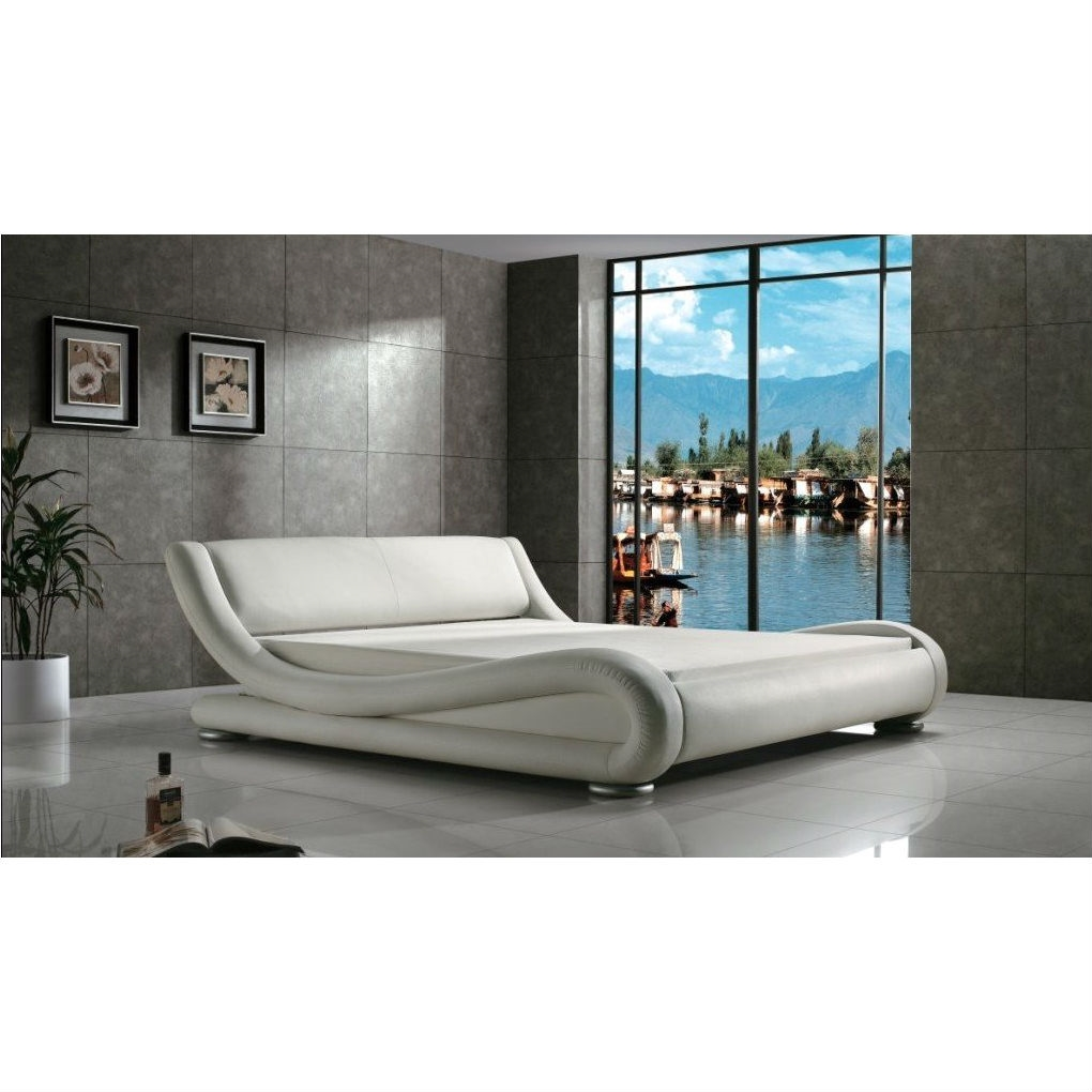 Queen Modern White Upholstered Platform Bed With Curved Sides Headboard