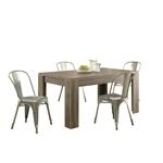 深色灰褐色木质饰面现代方块腿矩形餐桌