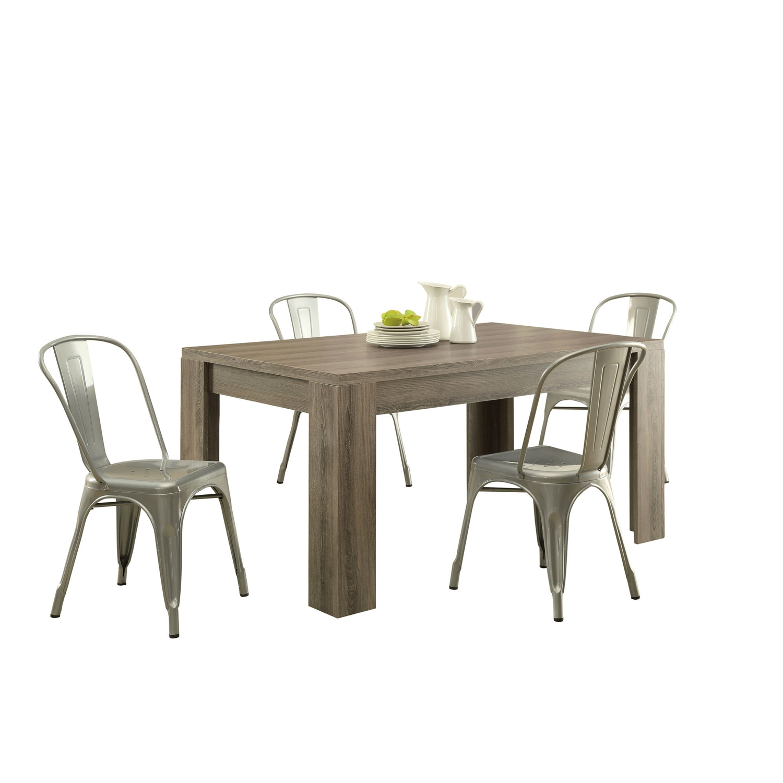 Modern rectangular dining table - Modern Block Leg Rectangular Dining Table In Dark Taupe Wood Finish