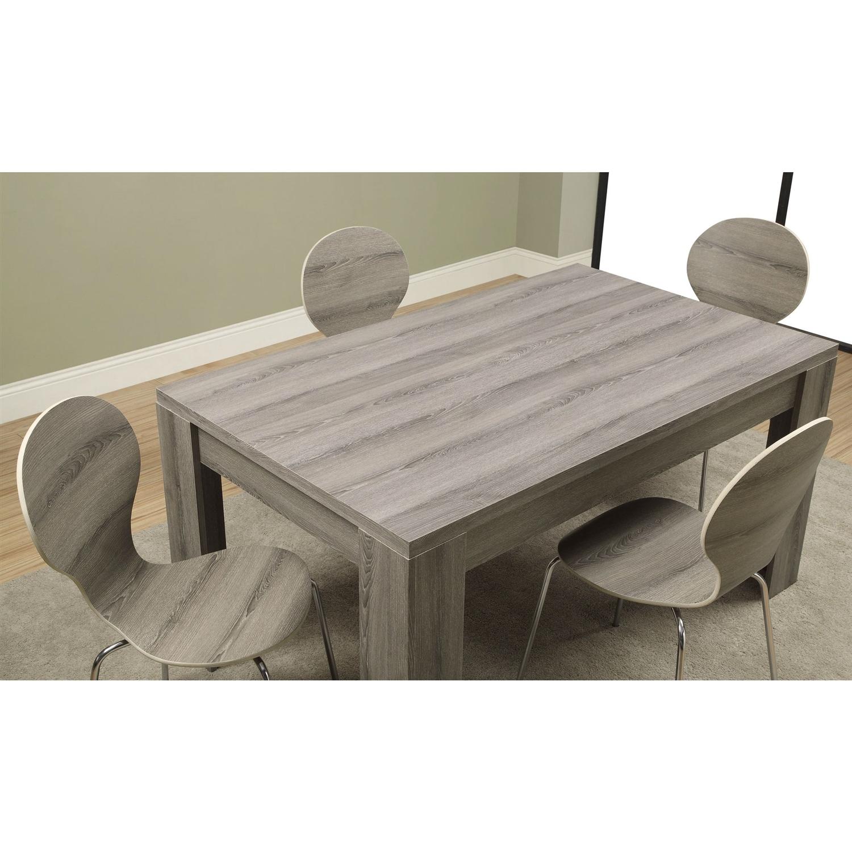 Modern Block Leg Rectangular Dining Table in Dark Taupe Wood
