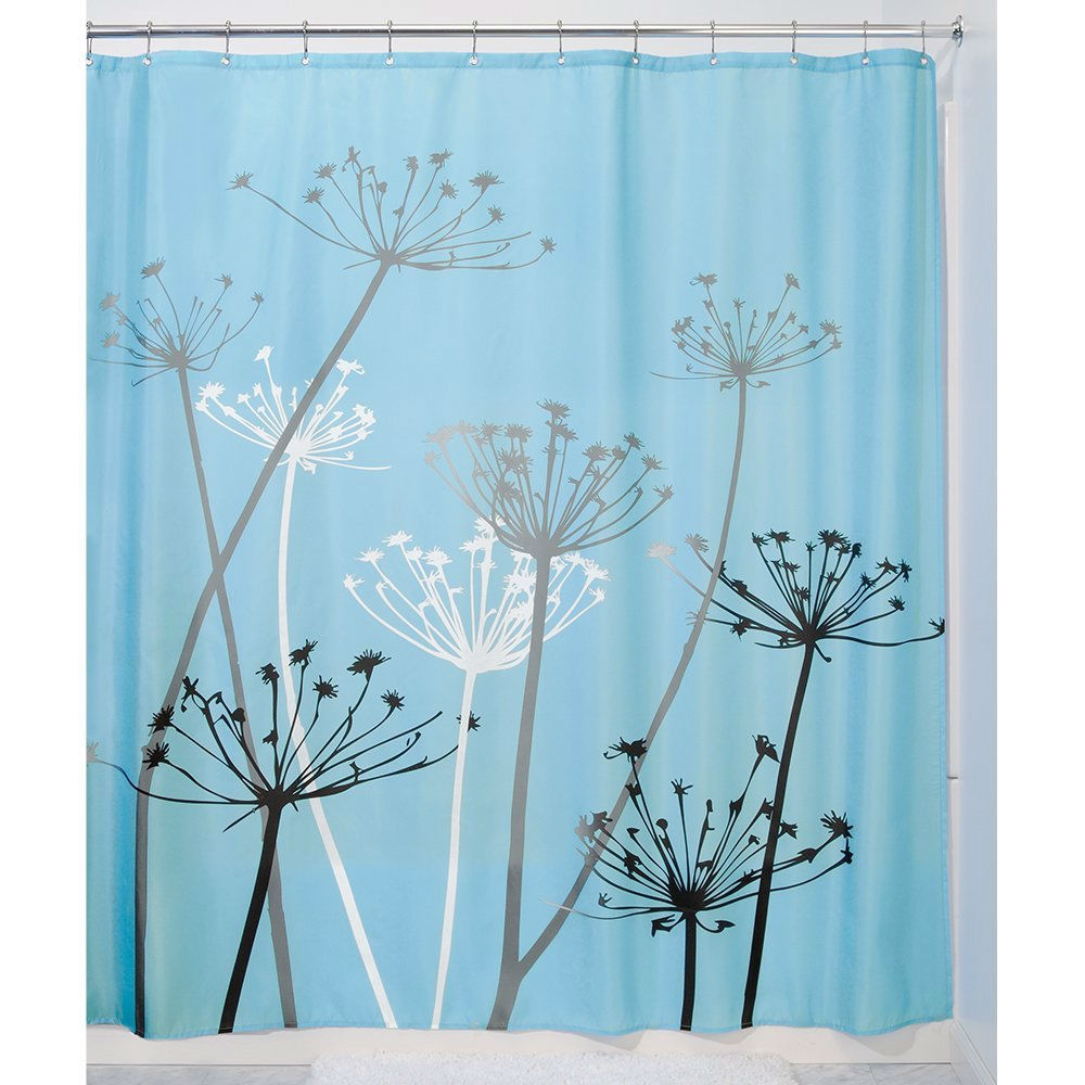 Black and Blue Thistle Flower Fabric Shower Curtain ...