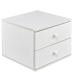 Modern White Wood 2-Drawer Accent End Table Nightstand