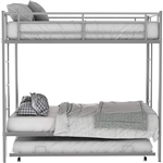 Twin size Silver Metal Bunk Bed with Roll-Out Trundle Bed Frame