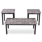 3-Piece Coffee Table and End Table Set with Faux Marble Top