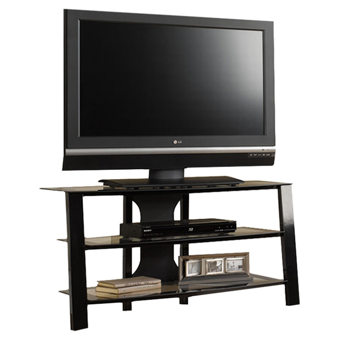 Contemporary 40 Inch Black Metal TV Stand With Clear Glass Shelves