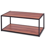 Modern Classic Metal and Wood Coffee Table with Bottom Shelf