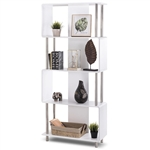 Modern 4-Shelf Metal Frame Bookcase in White Wood Finish