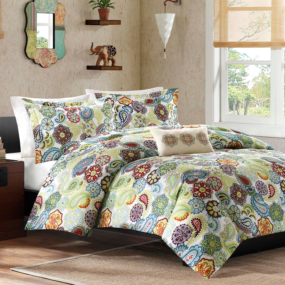 King size multi color paisley 4 piece bed bag comforter set fastfurnishings com
