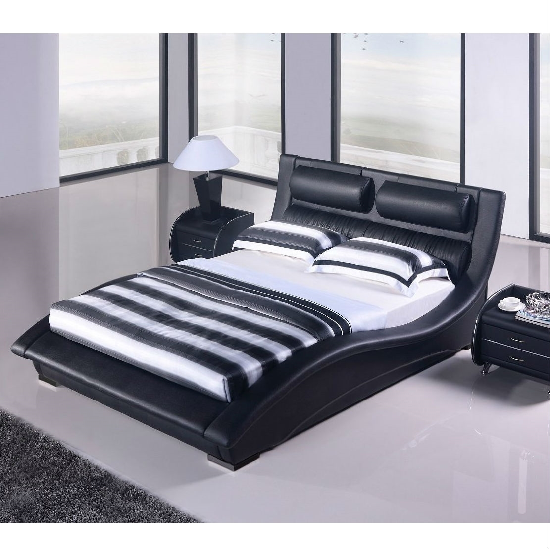 King Size Modern Black Faux Leather Upholstered Platform Bed With Headboard Fastfurnishings Com