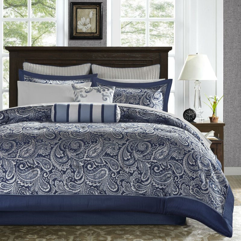 King size 12 piece Reversible Cotton Comforter Set in Navy Blue