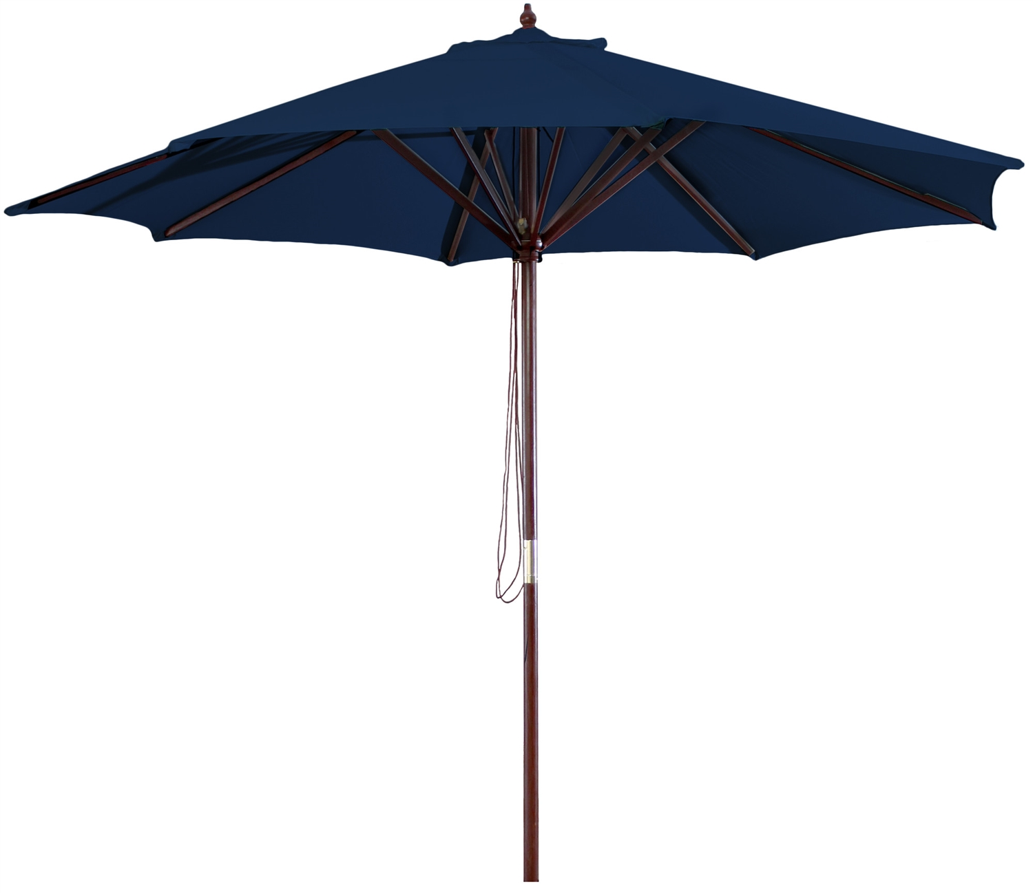 Navy Blue 9 Foot Outdoor Patio Umbrella With Wood Frame And Pulley