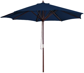 Navy Blue 9-Foot Outdoor Patio Umbrella with Wood Frame and Pulley