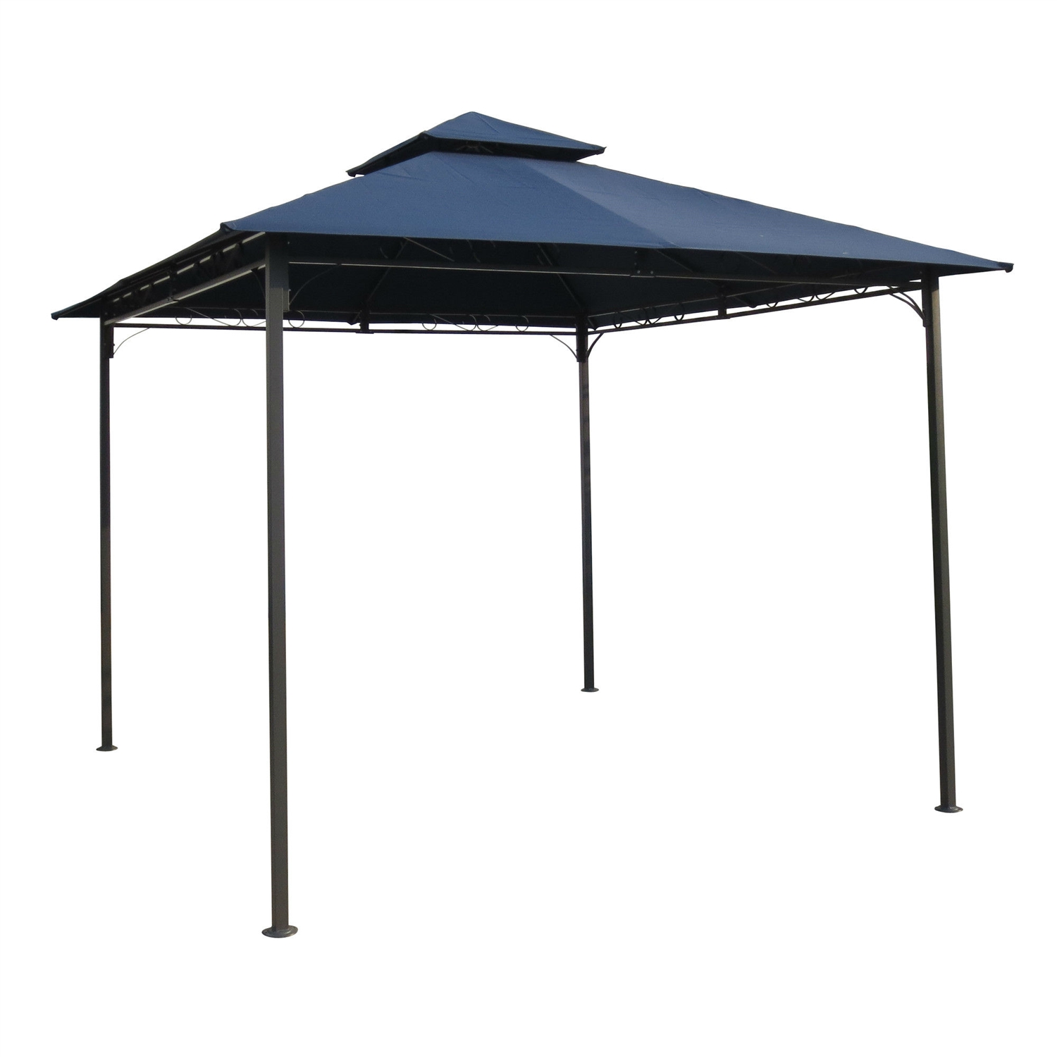 10Ft x 10Ft Outdoor Garden Gazebo with Iron Frame and Navy Blue ...