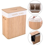 Bamboo 2-Bin Laundry Hamper Basket with Handles and Lid