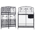Black Metal Potting Bench with Wrought Iron Vine Details and Fabric Potting Sink